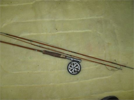 "Vintage Early Century 8'  Split Bamboo W/ Pflueger ""SAL-TROUT"" 1554"