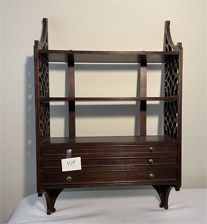 Vintage Wooden Hanging Shelf Unit with Intricate Wood Detailing on Sides