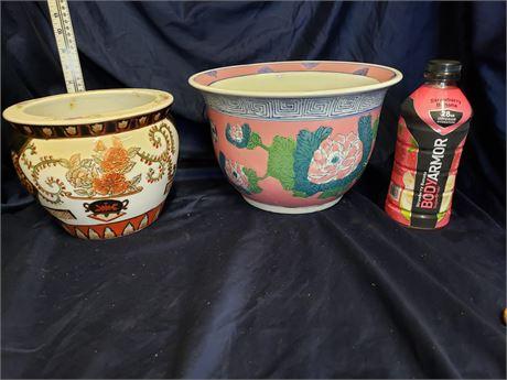 Oriental Decorative Pots/Planters lot of 2
