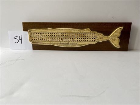 Scrimshaw Cribbage Board on Natural Material #1