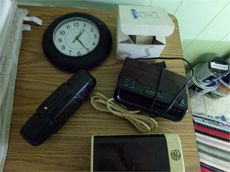 Battery Charger, Radio, and Clocks