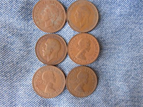 Large One Penny Coins: New Zealand Australia