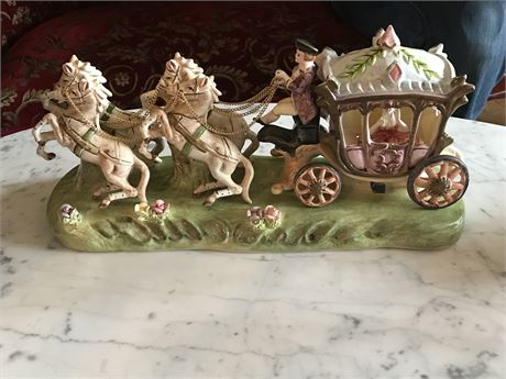 Antique Capidimonte Porcelain Horse Drawn Carriage