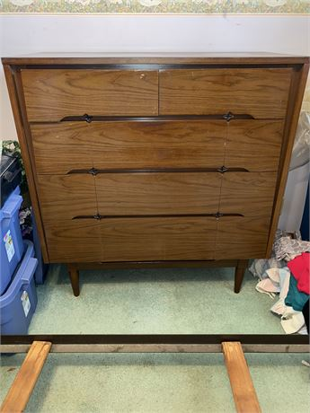 MCM Dresser With Mirror and Matching Five-Drawer Chest