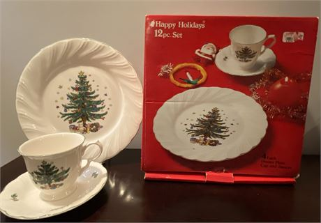 Holiday Dishware and Boyds Bears with Charlton Hall Pieces