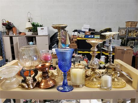 Shelf lot of Candles/candle holders