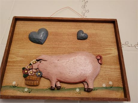 Painted Wood Pig Wall Hanging