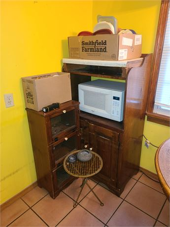 Kitchen Cleanout:Oak Table / Microwave & Stand / Tupperware / Metal Table & More