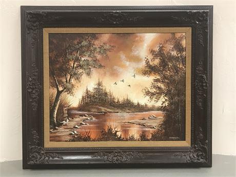 Thomas Pell Framed Original Oil Painting Landscape Ducks in Flight