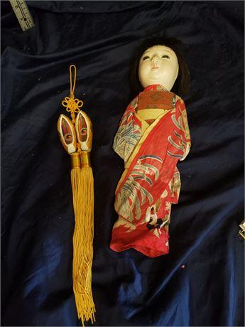 Vintage Japanese Doll and Korean Hanging Decoration