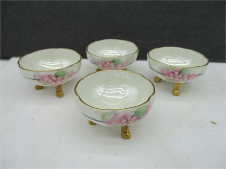 4 Rare Antique Hand Painted Fine China Germany Footed Salt Pinch Bowls