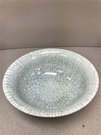 Large Crackle Style Heavy Pottery Bowl