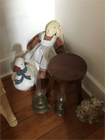 Copper Oil Lamps, Ceramics, Stool & Bunny Doll