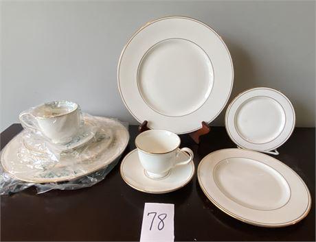 "Elegant Fine Bone China - ""Federal Gold"" Pattern from Lenox - 2 Place Settings"