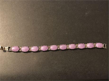Purple Jade set in Sterling Silver Bracelet Signed GSJ