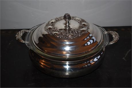 Pyrex dish in silverplate server