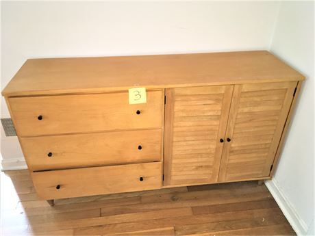 Solid Wood and Wood Veneer 3-Drawer Chest With Cabinet