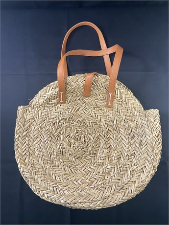 """Woven handbag/purse with leather straps. 18""""x14"""""""