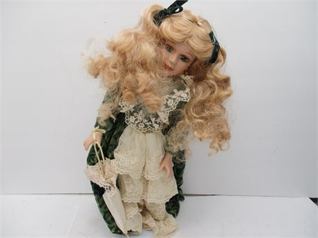 """Vintage Like New Genuine Collector's Choice 16""""  Green Eye Doll"""