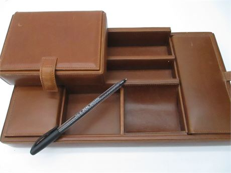 Men's Coach Fine Leather  2 Piece Brown Jewelry Box Set