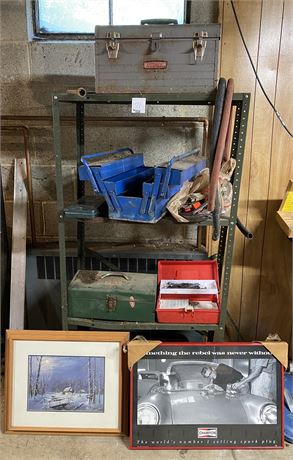 Metal Shelf and Contents inc Tools, Toolboxes and Two Framed Prints