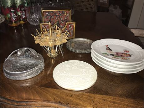 Coasters, Cocktail Spears & Finger Plates Lot