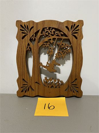 Vintage Handmade Girl Swinging Silhouette Made with a Scroll Saw