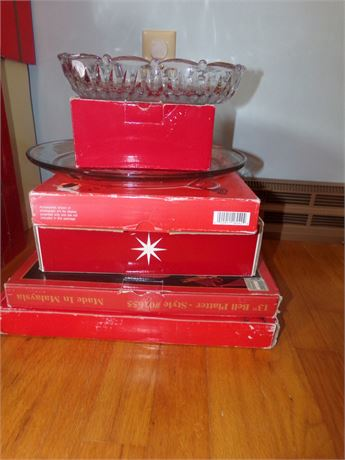 Christmas Holiday Serving Pieces- Bowl, Platters