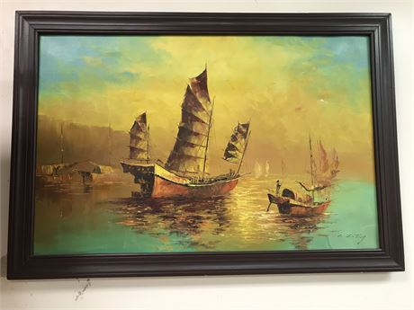 Original Oil on Canvas Boating Scene by C.Z. Ting (early 20th C.)