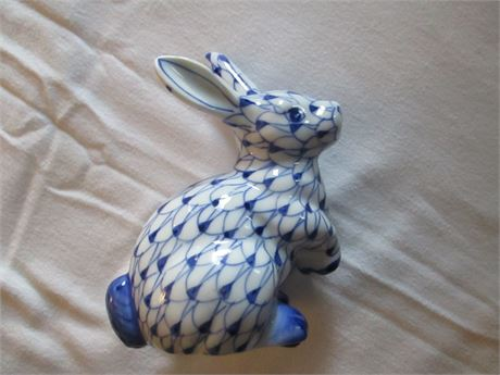 Genuine Blue & White Ceramic Bunny ANDREA by Sadak