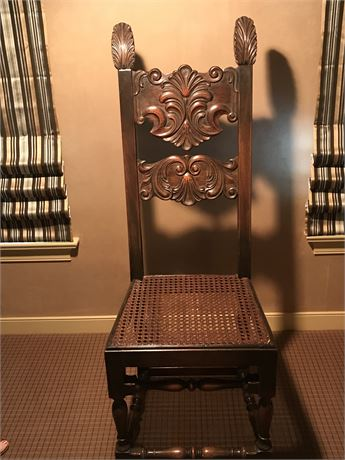 Antique Jacobean Chair with Caned Seat