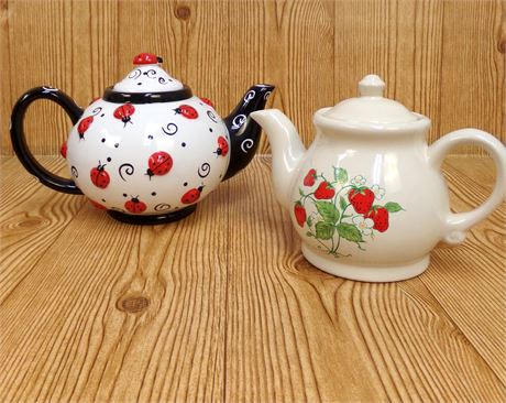 2 Teapots-Strawberry and Lady Bugs