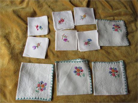 Embroidered Hankies & Napkins, Vintage