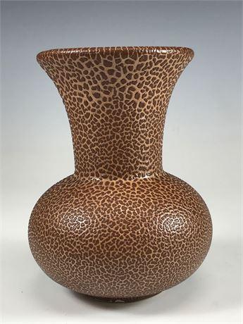 Heavy Ceramic Cheetah Print Bulbous Vase