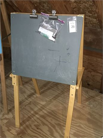 Toy Chalkboard/ Whiteboard Easel Combo with Markers and Eraser