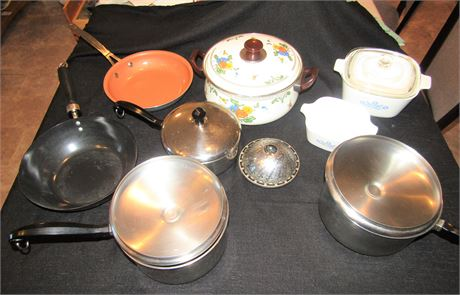 Corning Ware Oven to Table Baking Dishes, Stainless Steel Pots