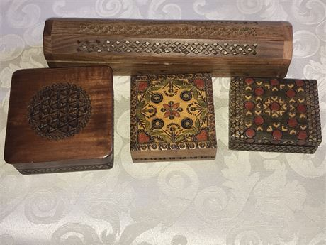 3 Decorative Boxes and a Censer