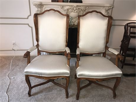 Pair of Finely Carved High Back Chairs
