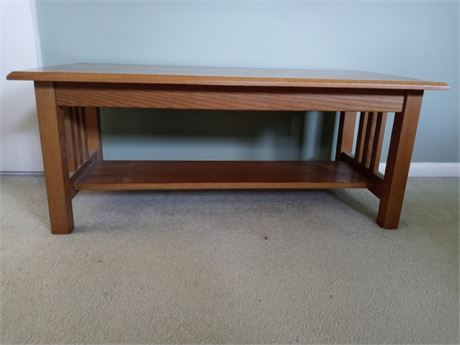 Wooden Bench/Table with Shelf - Mission Style