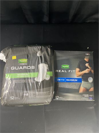 Mens Depends Guards and Real-fit incontinence pads and adult diapers.