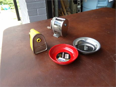 Swingline and Boston Pencil Sharpeners and 2 Magnetic Dishes