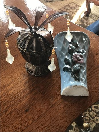 Ceramic Wall Pocket, Silver Tray & Wooden Wall Hanging Candle Holder
