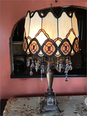 Heavy Table Lamp with Unique Leaded Glass Shade, Glass Base & Crystal Adornment