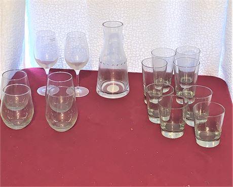 Hearth & Hand Glass Carafe, Wine Glasses, and Tumblers