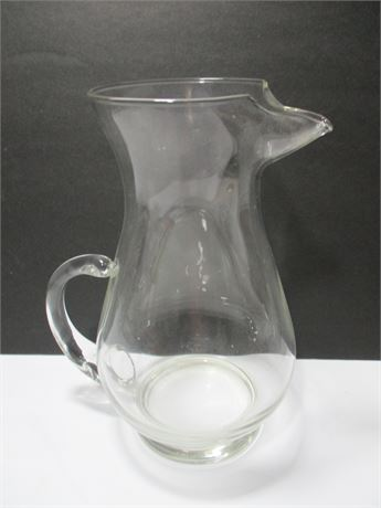 """Vintage 10"""" Clear Glass Crystal Water Pitcher"""
