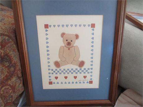 Genuine Jean Smith Child's Room Stenciled Teddy Art Picture
