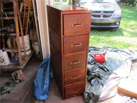 Antique Quarter Sawed Oak 5 Drawer File Cabinet