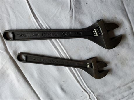"""Proto Adjustable Cresent Wrench Lot 12"""" & 10"""""""