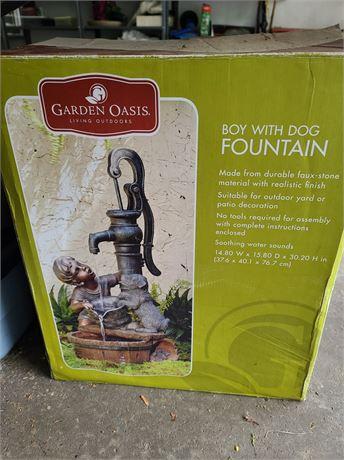 Garden Oasis Boy & Dog Fountain