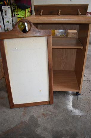 3 pc lot-Hand carved wooden calendar holder, printer table, peg hook